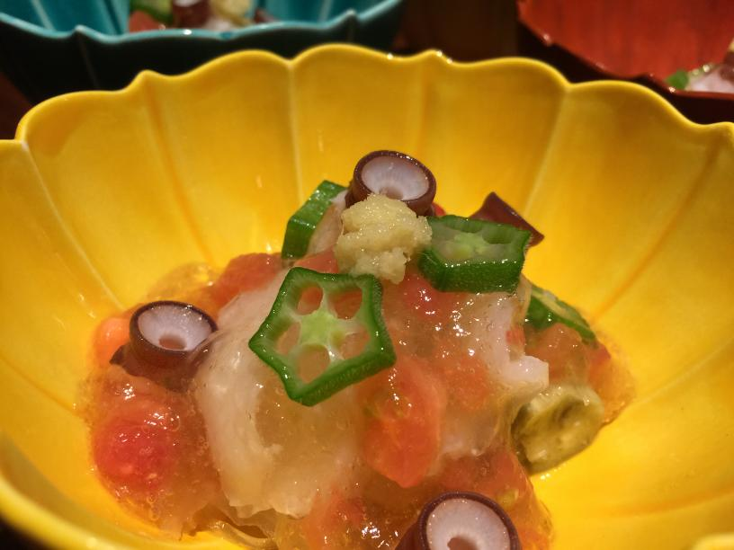 水蛸と焼き茄子のトマトジュレ掛け