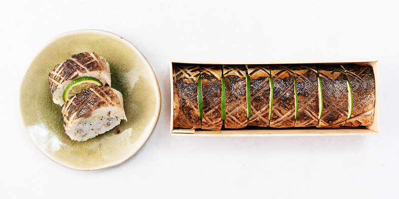 〆鯖炙り棒寿司
